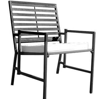 Shop Folding Slatted Black Iron Garden Chair Free
