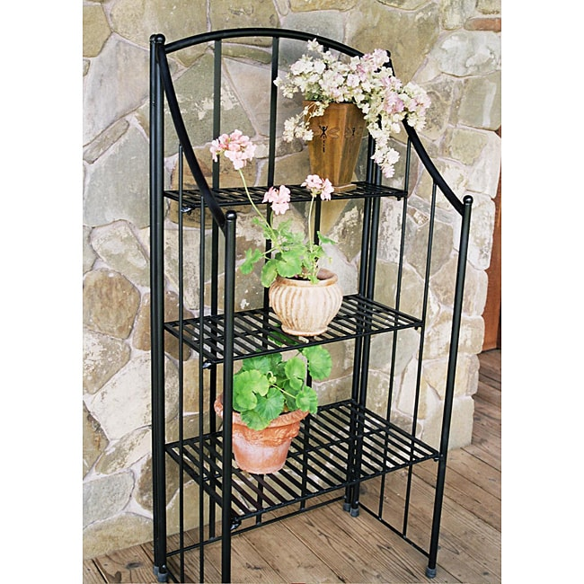 Black Folding Baker's Planter Rack - Thumbnail 0