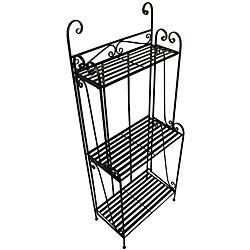 Folding Piper Black Three-shelf Baker's Rack