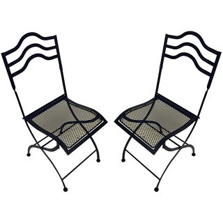 Black Squiggle-top Folding Chairs (Set of 2)