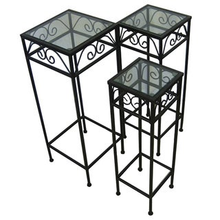 Black Iron/ Glass Nesting Tall Tables (Set of 3)