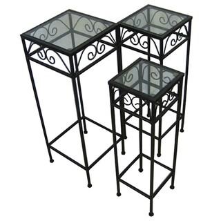 Black Iron/ Glass Nesting Tall Tables (Set of 3)