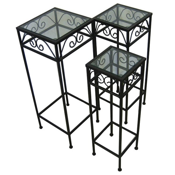 Shop Black Iron Glass Nesting Tall Tables Set Of 3