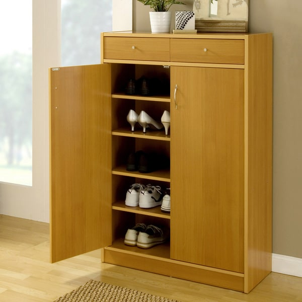 Furniture Of America 5 Shelf Shoe Cabinet With 2 Storage Bins   Free  Shipping Today   Overstock.com   11923225