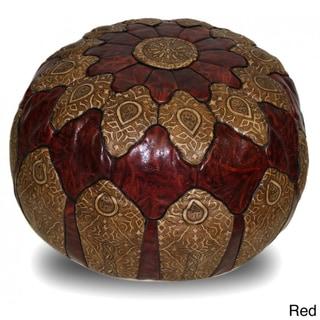 Handmade Genuine Leather Mosaic Ottoman Pouf (Morocco)