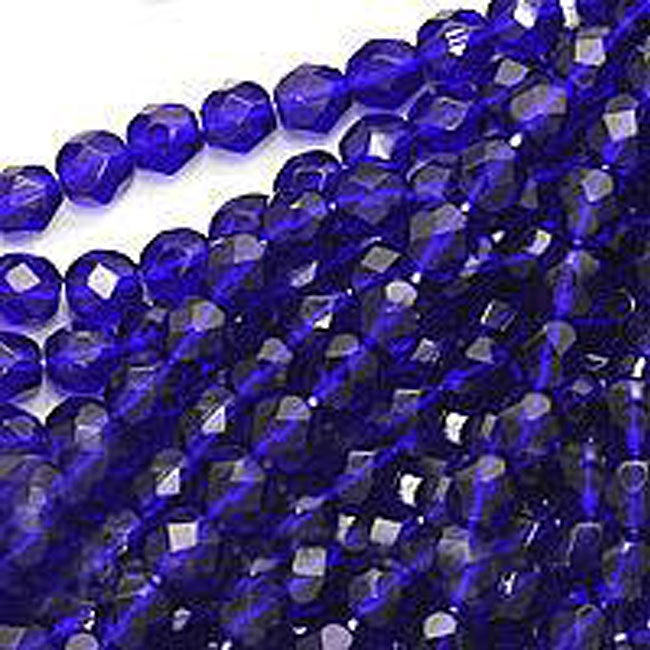 Beadaholique Czech Fire Polish 6-mm Round Cobalt Blue Beads (50)