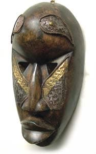 Boule Sese Wood and Brass Mask , Handmade in Ghana