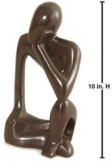 Carved Wood 'The Thinker' 10-inch Statue (Ghana)