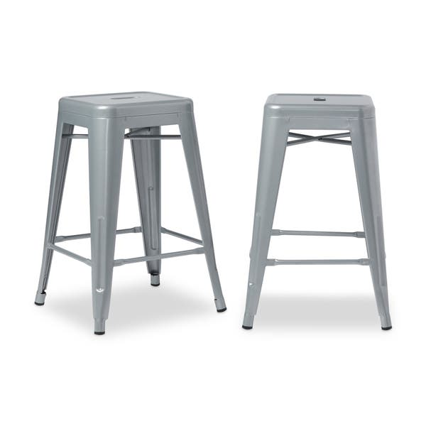 Outstanding Shop I Love Living 24 Inch Metal Counter Stools Set Of 2 Machost Co Dining Chair Design Ideas Machostcouk