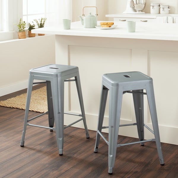 Shop Tabouret 24 Inch Metal Counter Stools Set Of 2