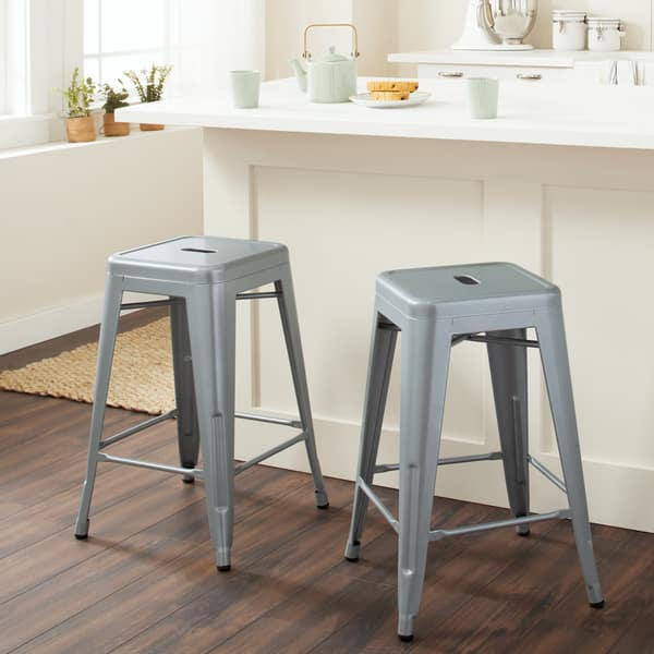Excellent Shop I Love Living 24 Inch Metal Counter Stools Set Of 2 Dailytribune Chair Design For Home Dailytribuneorg