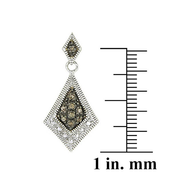 DB Designs Sterling Silver 1/5ct TDW Brown Diamond Drop Earrings - Thumbnail 0