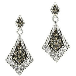 DB Designs Sterling Silver 1/5ct TDW Brown Diamond Drop Earrings