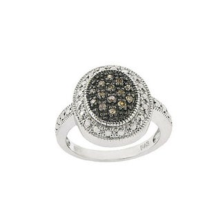DB Designs Sterling Silver Oval 1/6ct TDW Brown Diamond Ring