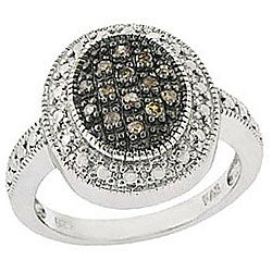 DB Designs Sterling Silver Oval 1/6ct TDW Brown Diamond Ring
