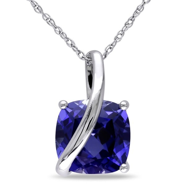 Miadora 10k Gold Cushion Square Created Blue Sapphire Necklace