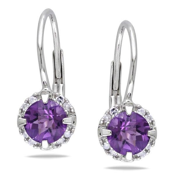 Miadora 10k White Gold Amethyst and Diamond Earrings