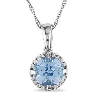 Miadora 10k White Gold Blue Topaz and Diamond Necklace