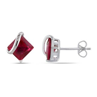 Link to Miadora 10k White Gold Square Created Ruby Earrings Similar Items in Earrings
