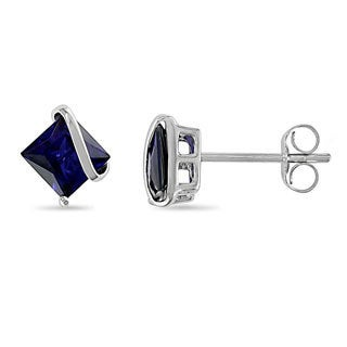 Miadora 10k White Gold Square Created Sapphire Earrings