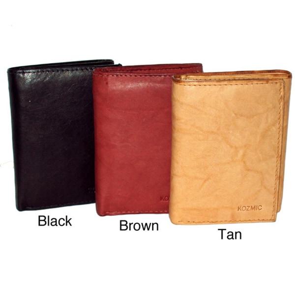 Kozmic Men's Cowhide Leather Tri-Fold Wallet