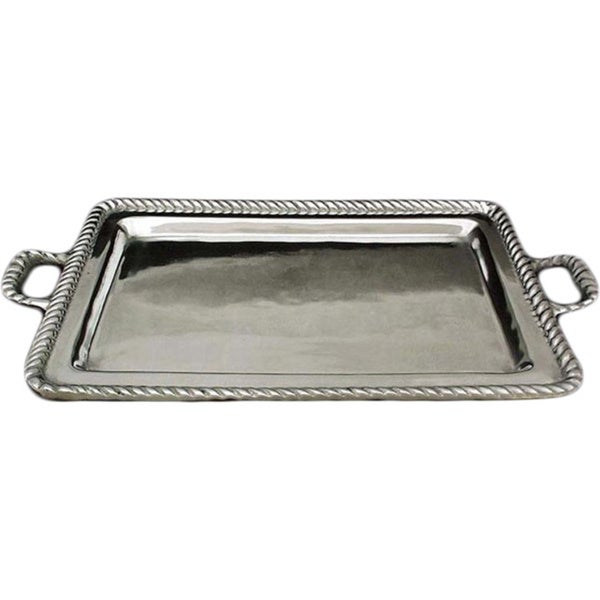 Moorings Everyday Entertaining or Barware High Polish Unique with Self Handles Aluminum Rectangular Serving Tray (Mexico)