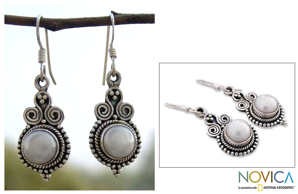 Handmade Sterling Silver 'Clouds of Desire' Pearl Earrings (India)