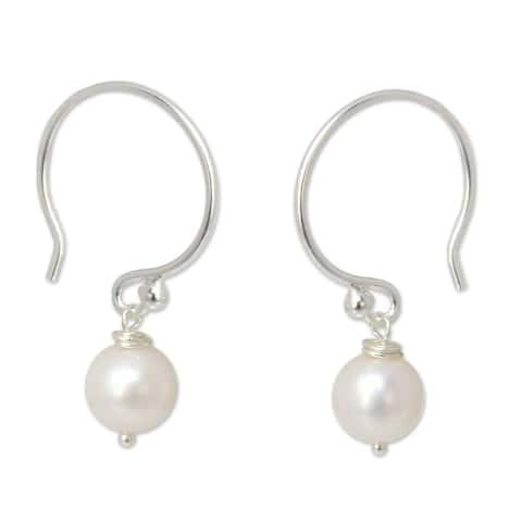 NOVICA Handmade White Pearl Sterling Silver Dangle Earrings (Thailand)