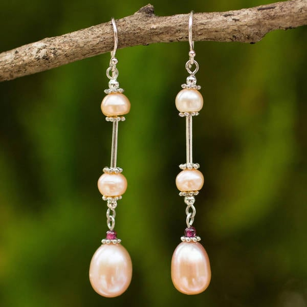 Handmade Pearl and Garnet 'Pink Lotus' Earrings (Thailand)