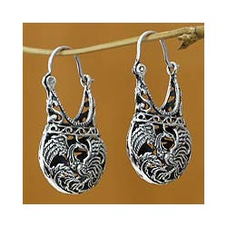 Handmade 'Eagle Legend' Filigree Hoop Earrings (Indonesia)