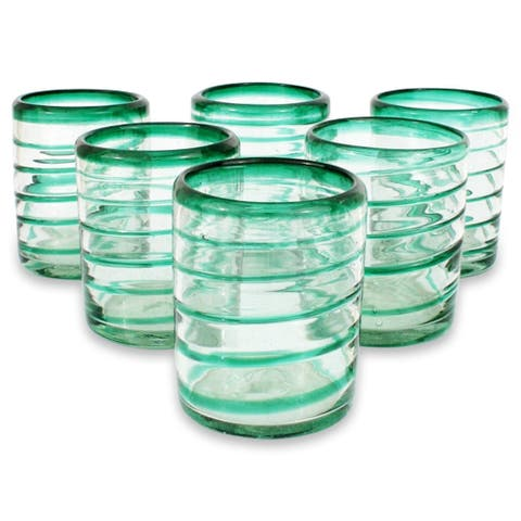 Handmade Drinking glasses Emerald Spiral set of 6 (Mexico) - N/A