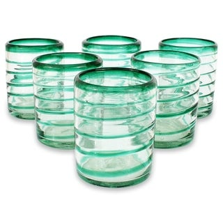 Handmade Emerald Spiral Clear Green Coil Set of Six Barware or Everyday Tableware Hostess Gift Handblown Drin (Thailand)