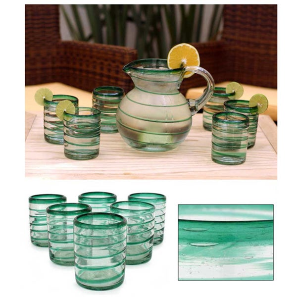 Handmade Emerald Spiral Clear Green Coil Set of Six Barware or Everyday Tableware Hostess Gift Handblown Drin (Thailand)