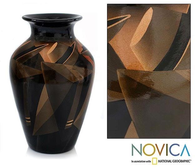 Ceramic 'Sepia Women' Vase  , Handmade in Peru