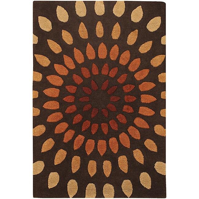 Tan/ Brown Mandara New Zealand Wool-blend Rug (5'6 x 7'9)