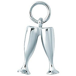 Sterling Silver Champagne Glasses Charm