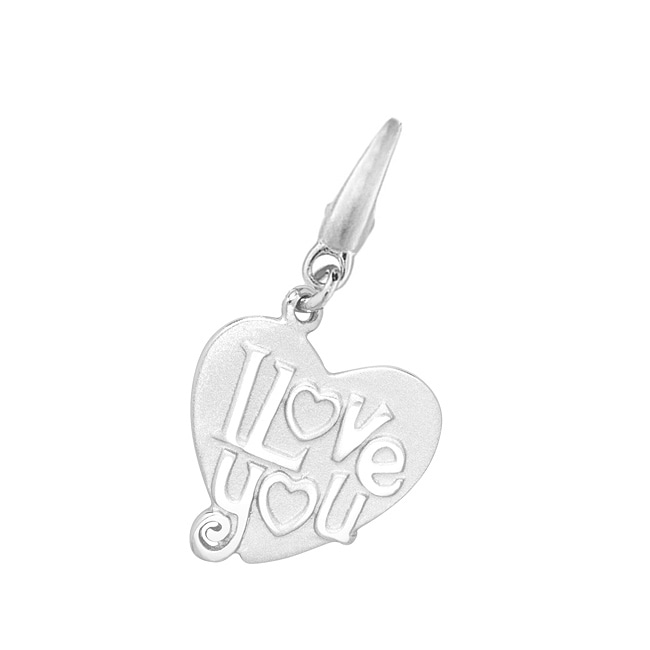 Sterling Silver 'I Love You' Heart-shape Charm