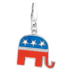 Sterling Silver and Enamel 'Republican Elephant' Charm