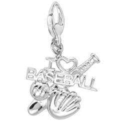 Sterling Silver 'I Love Baseball' Charm