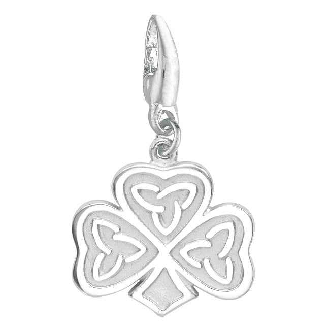 Sterling Silver Celtic Clover Charm, Women's, White