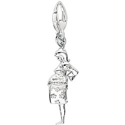 Sterling Silver 'Pregnant Mom' Charm