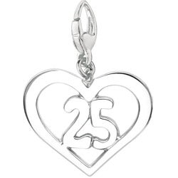 Sterling Silver '25 in Heart' Charm