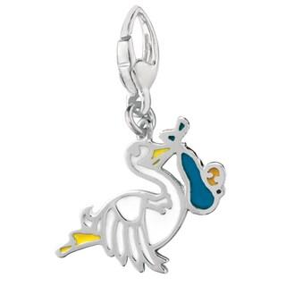 Sterling Silver 'Baby Boy' Stork Charm