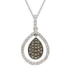 DB Designs Sterling Silver 1/4ct TDW Brown Diamond Teardrop Necklace