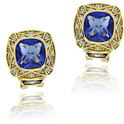 Icz Stonez 18k Goldplated Silver Blue Cubic Zirconia Earrings