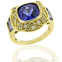 Icz Stonez Goldplated Silver Blue CZ Square Ring