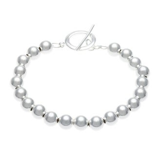 Mondevio Sterling Silver 8mm Bead Toggle Bracelet