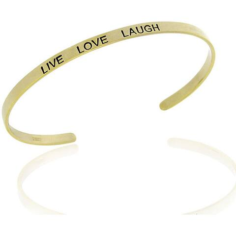 Mondevio 18k Gold over Sterling Silver 'Live, Love and Laugh' Bangle