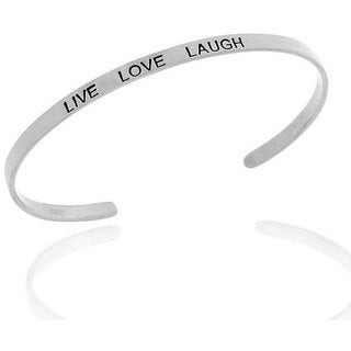 Mondevio Sterling Silver 'Live', 'Love' and 'Laugh' Bangle