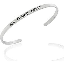 Mondevio Sterling Silver 'Ami, Friend, Amigo' Bangle
